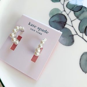 Kate Spade Pearl Huggie Hoop Earrings Silver